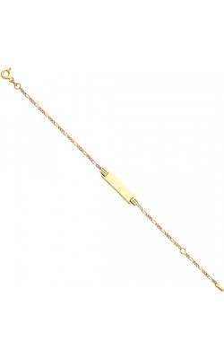 14K 2T Figaro 3+1 WP Baby ID Bracelet – 5+1″ product image