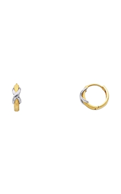 14K 2T 2mm Huggies Earrings with X on Matte Finish product image