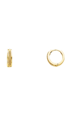 14K 2T 2.5mm Square Huggies Earrings with Twisted Rope product image