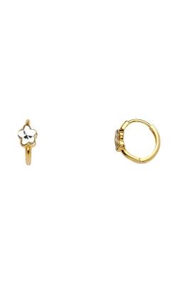 14K 2T 5mm Flower Huggies Earrings product image