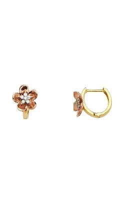 14K 2T 13mm Flower CZ Huggies Earrings product image