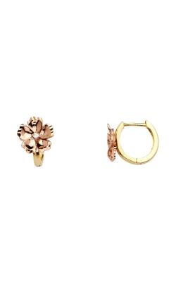 14K 2T 10mm Flower CZ Huggies Earrings product image