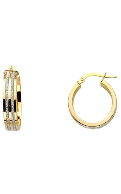 14K 2T 6mm Two Line Sparkling Center Hoop Earrings product image