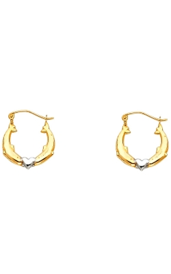 14K 2C Dolphin Hollow Hoop Earrings product image